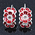 C-Shape White/ Red Enamel Floral Earrings In Silver Tone With Leverback Closure - 30mm L