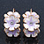 C-Shape White/ Lavender Enamel 'Floral' Earrings In Gold Plating - 3cm Length