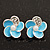 Small Light Blue Enamel Diamante &#039;Flower&#039; Stud Earrings In Silver Finish - 15mm Diameter
