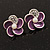 Small Purple Enamel Diamante 'Flower' Stud Earrings In Silver Finish - 15mm Diameter