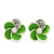 Small Lime Green Enamel Diamante 'Flower' Stud Earrings In Silver Finish - 15mm Diameter - view 3