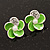 Small Lime Green Enamel Diamante 'Flower' Stud Earrings In Silver Finish - 15mm Diameter