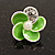 Small Lime Green Enamel Diamante 'Flower' Stud Earrings In Silver Finish - 15mm Diameter - view 2