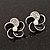 Small Black Enamel Diamante &#039;Flower&#039; Stud Earrings In Silver Finish - 15mm Diameter