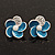 Small Blue Enamel Diamante &#039;Flower&#039; Stud Earrings In Silver Finish - 15mm Diameter