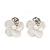 Small White Enamel Diamante &#039;Flower&#039; Stud Earrings In Silver Finish - 15mm Diameter - view 3