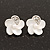 Small White Enamel Diamante &#039;Flower&#039; Stud Earrings In Silver Finish - 15mm Diameter