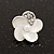 Small White Enamel Diamante &#039;Flower&#039; Stud Earrings In Silver Finish - 15mm Diameter - view 2