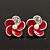 Small Red Enamel Diamante &#039;Flower&#039; Stud Earrings In Silver Finish - 15mm Diameter