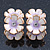 C-Shape White/ Lavender Enamel 'Floral' Stud Earrings In Gold Plating - 25mm Length