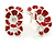 C-Shape White/ Red Enamel 'Floral' Stud Earrings In Silver Tone - 25mm L
