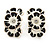 C-Shape White/ Black Enamel 'Floral' Stud Earrings In Silver Tone - 25mm L