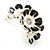 C-Shape White/ Black Enamel 'Floral' Stud Earrings In Silver Tone - 25mm L - view 5