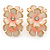 C-Shape Cream/ Pink Enamel 'Floral' Stud Earrings In Gold Tone - 25mm L