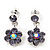 Delicate Lavender Crystal Flower Drop Earrings In Silver Plating - 1.5cm Length
