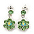 Delicate Grass Green Crystal Flower Drop Earrings In Silver Plating - 1.5cm Length