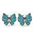 Small Light Blue Enamel Diamante Butterfly Stud Earrings In Silver Finish - 18mm Length