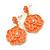 Coral Enamel 'Rose' Drop Earrings In Gold Plating - 4cm Length