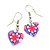 Children's Small Pink Acrylic 'Heart' Drop Earring In Silver Plating - 3cm Length - view 2