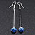 Sapphire Blue/ Clear Crystal Ball Chain Drop Earrings In Silver Plating - 10mm Diameter/ 6.5cm Length