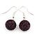 Deep Purple Swarovski Crystal Ball Drop Earrings In Silver Plated Finish - 12mm Diameter/ 3cm Length