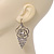 Open Cut Diamante 'Rose' Drop Earrings In Gun Metal Finish - 6.5cm Length - view 4