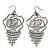Open Cut Diamante 'Rose' Drop Earrings In Gun Metal Finish - 6.5cm Length