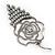Open Cut Diamante 'Rose' Drop Earrings In Gun Metal Finish - 6.5cm Length - view 6