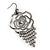 Open Cut Diamante 'Rose' Drop Earrings In Gun Metal Finish - 6.5cm Length - view 2
