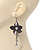 Long Flower With Crystal Dangles Earrings In Gun Metal Finish - 9cm Length - view 2