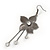 Long Flower With Crystal Dangles Earrings In Gun Metal Finish - 9cm Length - view 3