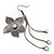 Long Flower With Crystal Dangles Earrings In Gun Metal Finish - 9cm Length - view 4