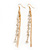 Long Gold Plated Clear Diamante 'Tassel' Drop Earrings - 11cm Length - view 10