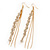 Long Gold Plated Clear Diamante 'Tassel' Drop Earrings - 11cm Length - view 8