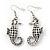 Burn Silver Hammered 'Seahorse' Drop Earrings - 5.5cm Length