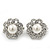 Classic Diamante Simulated Pearl Clip On Earrings In Silver Plating - 17mm Diameter - view 4
