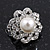 Classic Diamante Simulated Pearl Clip On Earrings In Silver Plating - 17mm Diameter - view 2