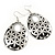 Silver/Black Cut-Out Floral Oval Hoop Earrings - 6.5cm Length