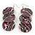Long Stripy Acrylic Disk Drop Earrings In Silver Plating - 9cm Drop - view 2