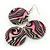 Long Stripy Acrylic Disk Drop Earrings In Silver Plating - 9cm Drop - view 3