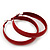 Medium Burgundy Red Enamel Hoop Earrings - 5.5cm Diameter - view 4