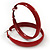 Medium Burgundy Red Enamel Hoop Earrings - 5.5cm Diameter - view 3