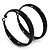 Medium Black Enamel Hoop Earrings - 5.5cm Diameter