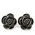 Dark Grey Enamel 'Rose' Stud Earrings In Rhodium Plating - 2cm Diameter