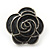 Dark Grey Enamel 'Rose' Stud Earrings In Rhodium Plating - 2cm Diameter - view 7