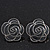 Dark Grey Enamel 'Rose' Stud Earrings In Rhodium Plating - 2cm Diameter - view 5