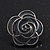 Dark Grey Enamel 'Rose' Stud Earrings In Rhodium Plating - 2cm Diameter - view 8