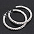 Classic Austrian Crystal Hoop Earrings In Rhodium Plating - 5.5cm D - view 5