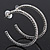 Classic Ice Clear Austiran Crystal Hoop Earrings In Rhodium Plating - 5.5cm D - view 1