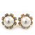 Classic Diamante Faux Pearl Flower Stud Earrings In Gold Plating - 18mm Diameter - view 1